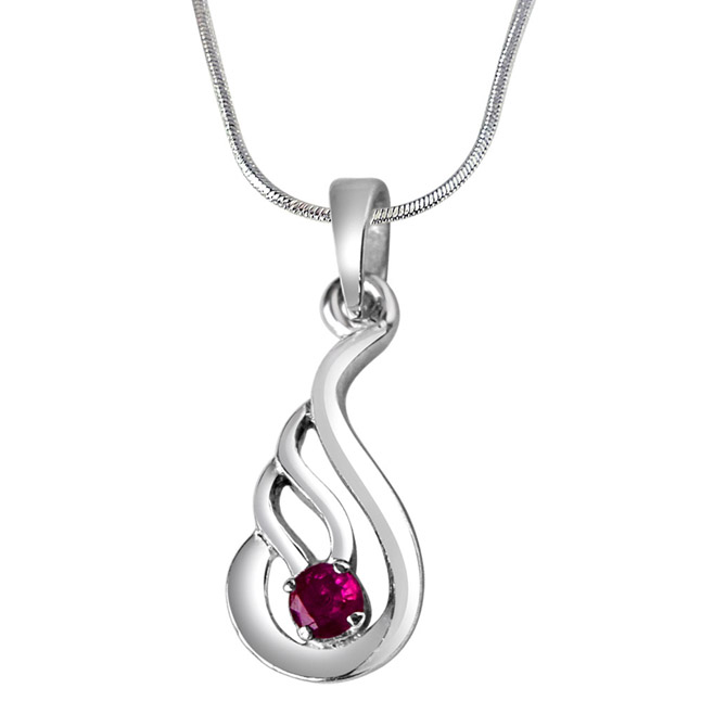 Deep Rooted Heritage Red Ruby & Sterling Silver Pendant with 18 IN Chain