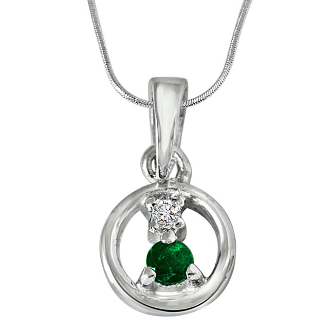 Delicate Life - Real Diamond & Green Emerald Pendant in Sterling Silver with 18 IN Chain