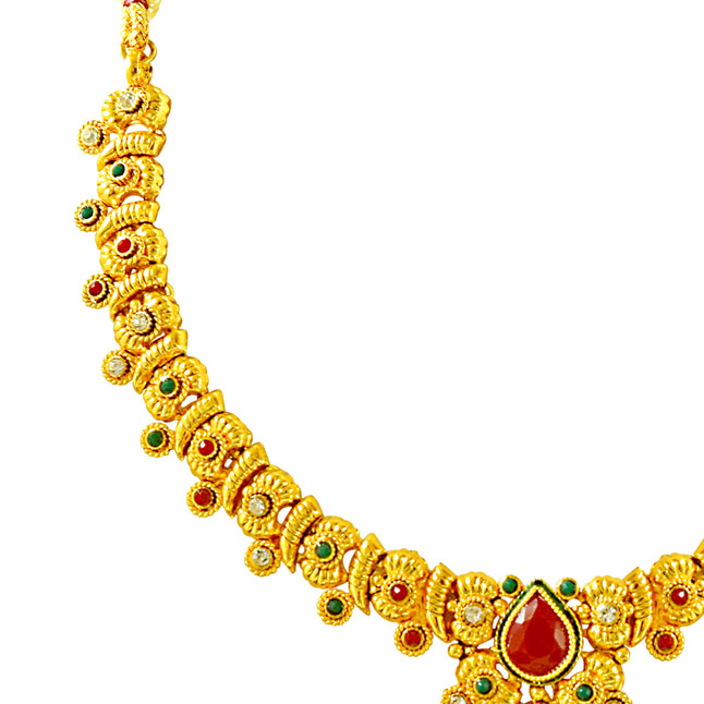 Delicate Red, Green & White Stone & Gold Plated Necklace Earrings & Tikka Ethnic Fashion Jewellery Set