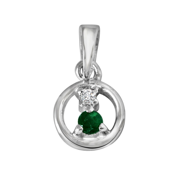 "Delicate Life -Real Diamond & Green Emerald Pendants in Sterling Silver with 18"" Chain"
