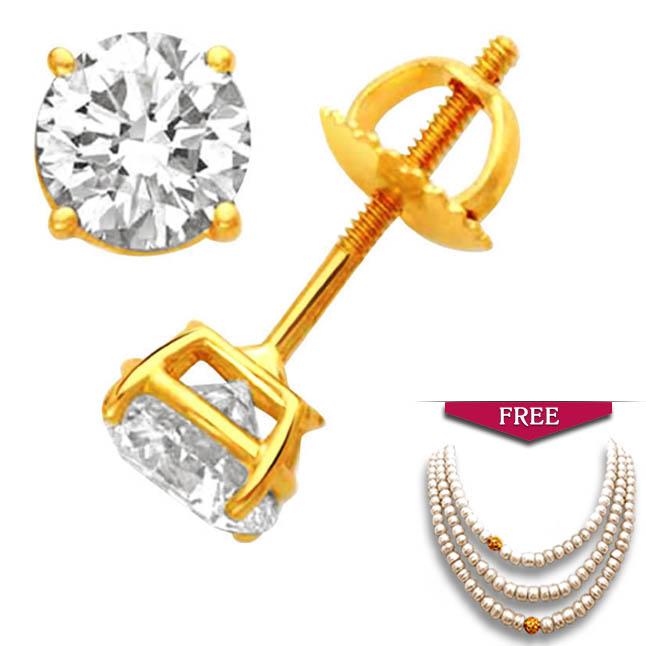 Dazzling Diamond Solitaire Earrings -Solitaire Earrings