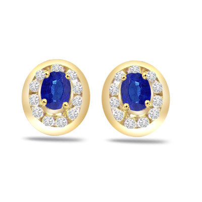Dew Drop Delight 0.22ct Classic Diamond & Sapphire Gold Earrings -Dia & Gemstone