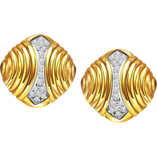 Diamond Drops -Two Tone Earrings