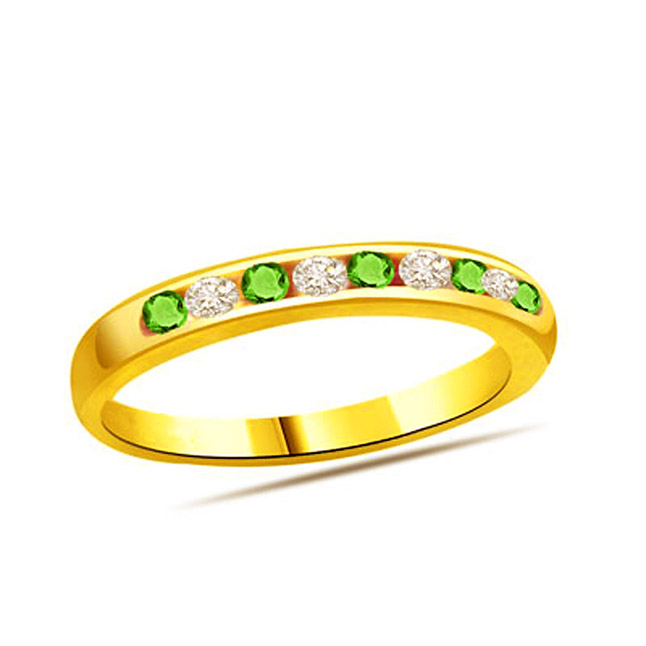 Diamond & Emerald Gold rings SDR1148 -Diamond & Emerald