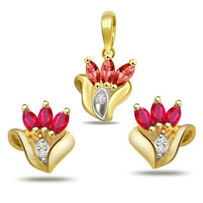 Diamond & Marquise Ruby Set - Designer Earrings