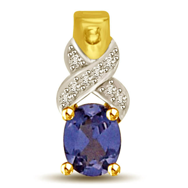 Diamond & Oval Sapphire Two Tone Gold Pendants