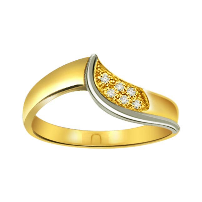 Diamond 0.18 ct Two Tone rings -White Yellow Gold rings