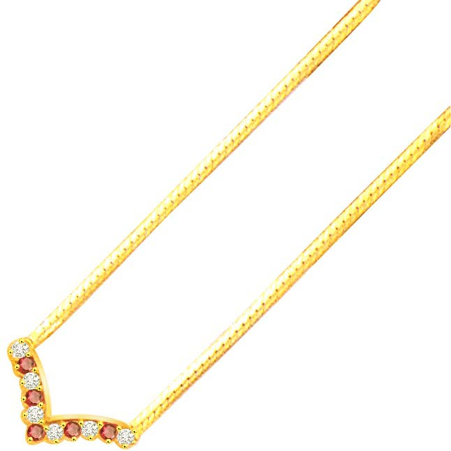 Diamond Cocktail 0.90ct Diamond & Ruby Gold Necklace -2 Tone Necklace Pendants + Chain