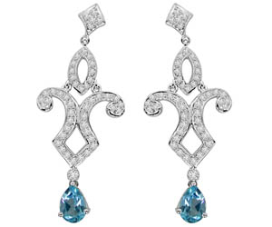 Diamond Delight. Topaz Temptation (TCW :1.94cts) -Designer Earrings