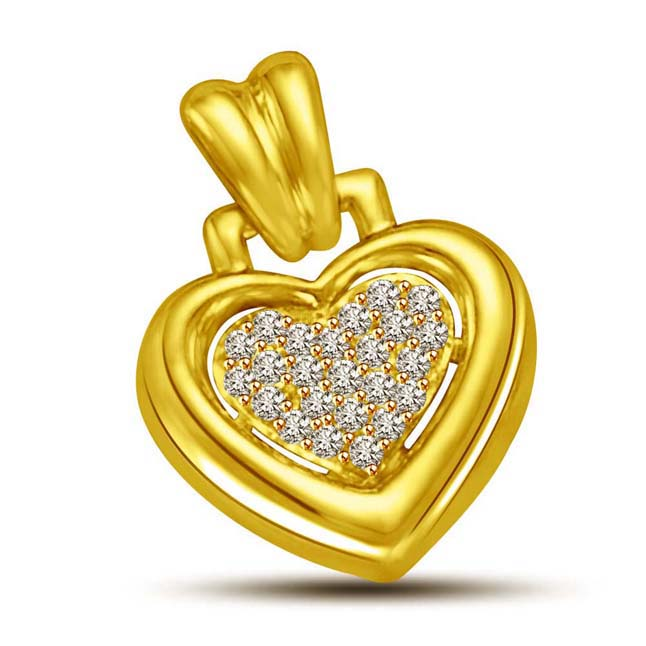 Diamond filled Heart 18kt Gold Pendants for my Love