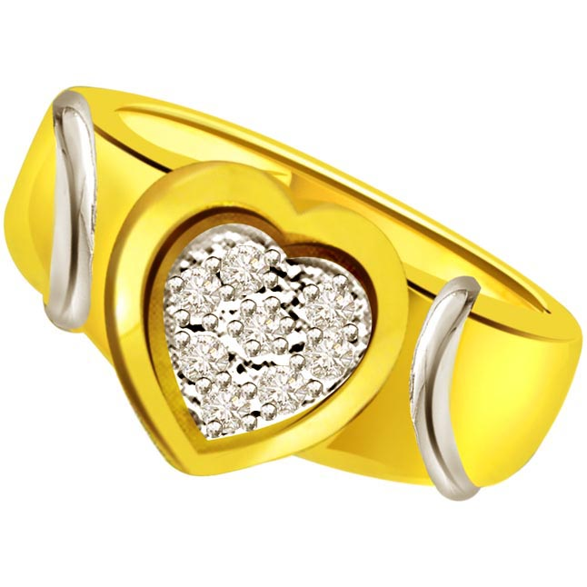 Diamond Heart Shape Gold rings Set in 18kt SDR497