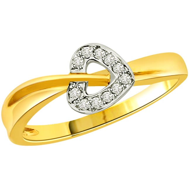 Diamond Heart Shape Gold rings SDR512
