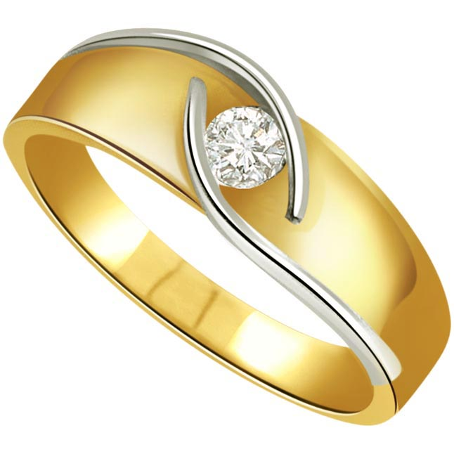 Diamond Men's Solitaire rings SDR387 -Two Tone Solitaire