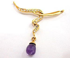Diamond Necklace Pendants with Dangling Drop Amethyst Necklaces