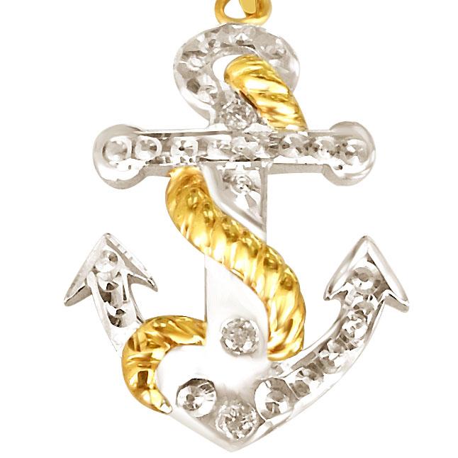 Diamond & Silver Anchor Pendant - Sport Collection