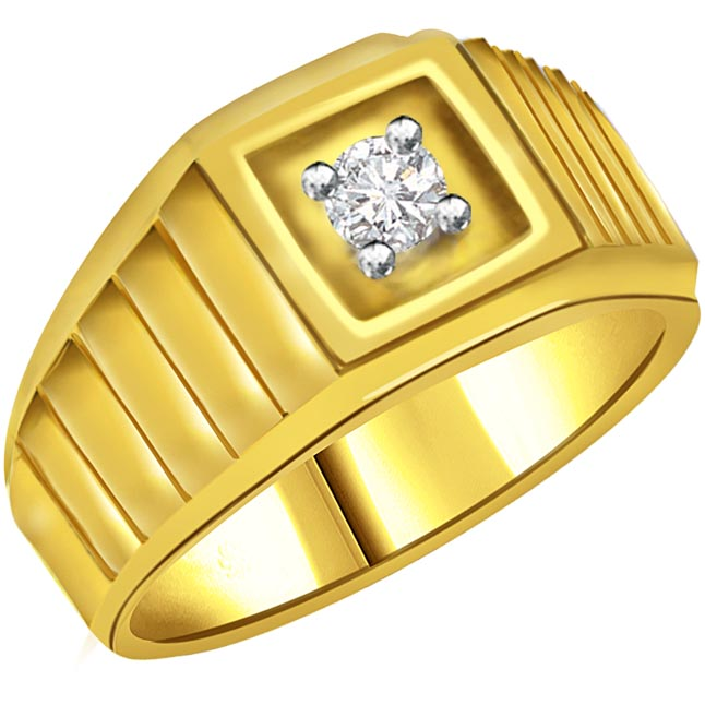 Diamond Solitaire Gold Men's rings SDR562 -Solitaire rings
