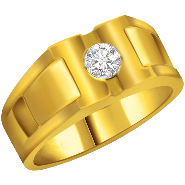 Diamond Solitaire Gold Men's rings SDR563 -Solitaire rings