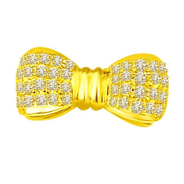 Diamond Studded Bow for Her, Fine Elegant Stylish -Designer Pendants