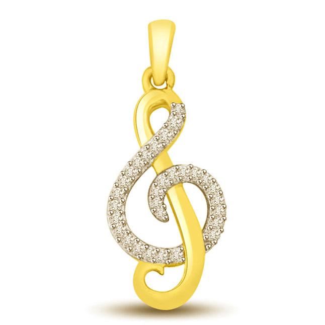 Diamond Two Tone Pendants -P986