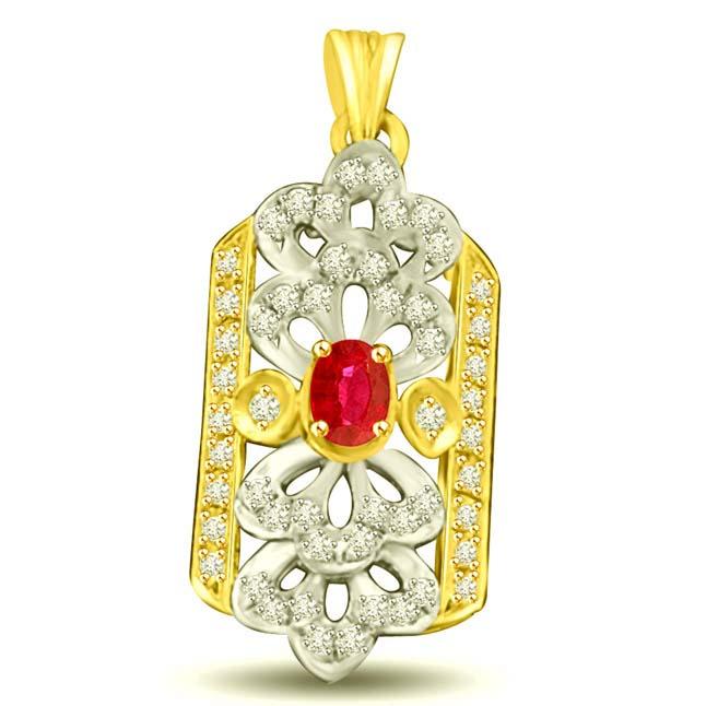 Diamonds Ocean 0.52CT Ruby & Diamond Two Tone Gold Pendants for Her