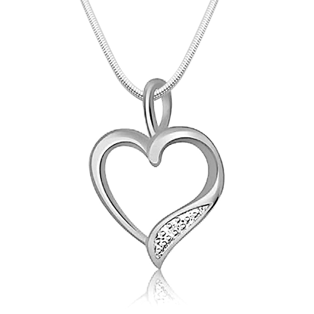 "Divine Heart -Real Diamond & Sterling Silver Pendants with 18"" Chain"