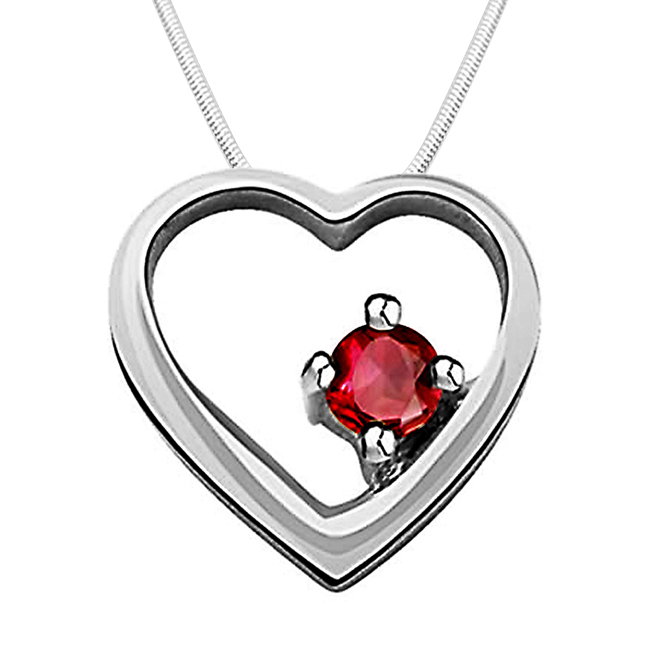 "Divine Love -Real Red Ruby & Sterling Silver Pendants with 18"" Chain"