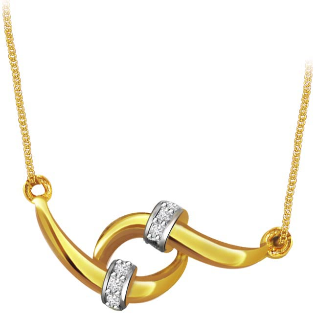 Twinkling Star 0.24ct Two Tone Diamond Necklace Pendants with chain -2 Tone Necklace Pendants + Chain