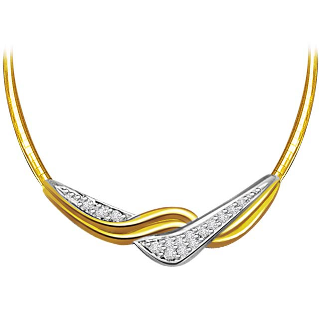 Dazzling Elegance 0.32ct Two Tone Diamond Necklace Pendants with chain -2 Tone Necklace Pendants + Chain