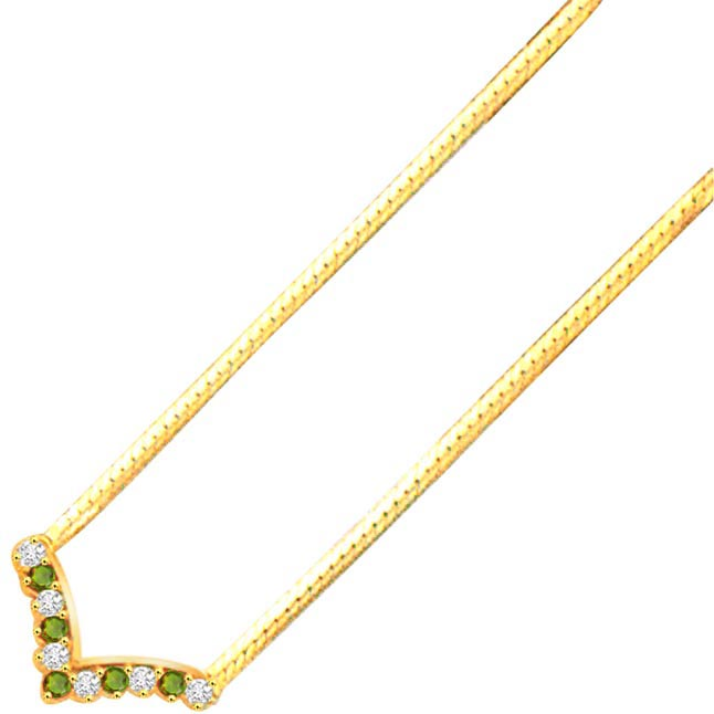 Wavy touch 0.90ct Diamond & Emerald Gold Necklace -2 Tone Necklace Pendants + Chain