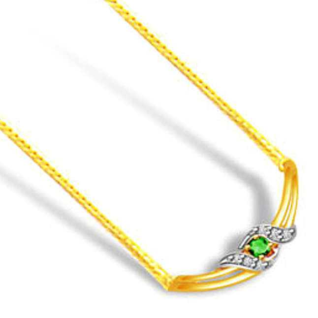 Green Paradise 0.18ct Diamond & Emerald Gold Necklace -2 Tone Necklace Pendants + Chain