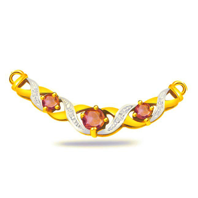 Rubal Beauty 0.12ct Diamond & Ruby Necklace Pendants Necklaces