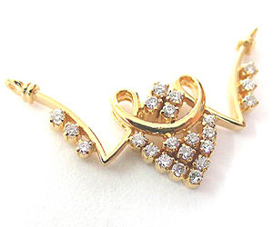 Golden Umbrella 0.54 cts Beautiful Diamond Necklace Pendants Necklaces