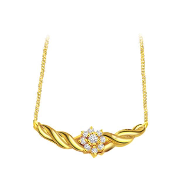 Floral Circle 0.25 cts Flower Design Diamond Necklace 18K Pendants Necklaces