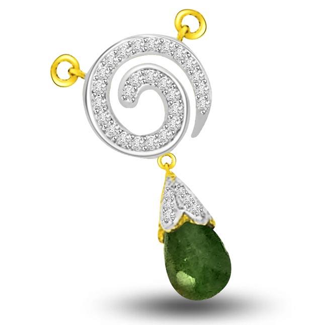 Exotic Green Ocean Diamond & 18kt Green Drop Emerald Pendants