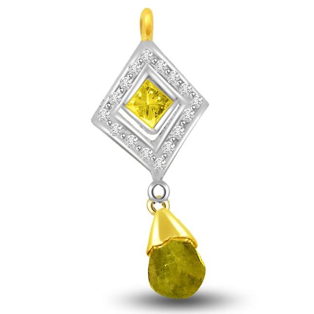Greenery Unseen Diamond & Peridot 18k Gold Two Tone Pendants -Diamond -Ruby