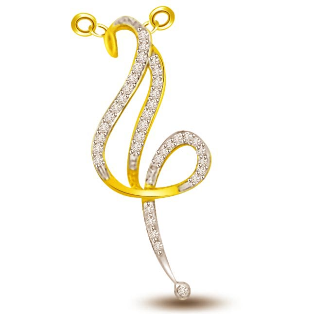Elegant Curves & Delicate Diamond & Gold Pendants -Designer Pendants
