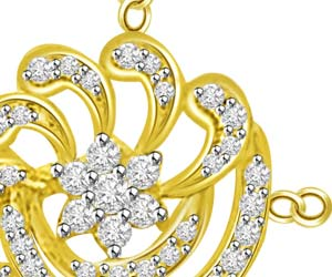 Circular Playful Yellow Gold Diamond Pendants -Flower Shape Pendants