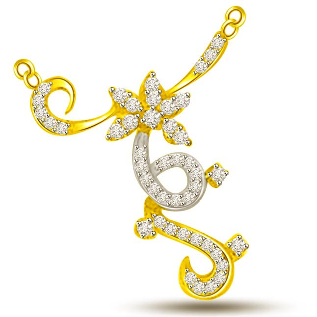 Fall In Love Flower Diamond Pendants With Curve