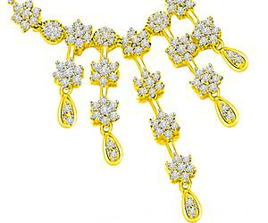 Multi Flower Diamond & Gold Wedding Necklace Pendants