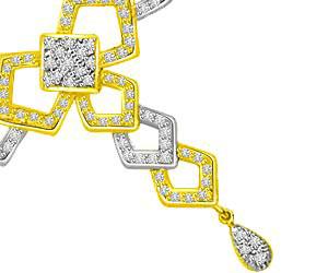 Magical White Yellow Diamond & Gold Pendants