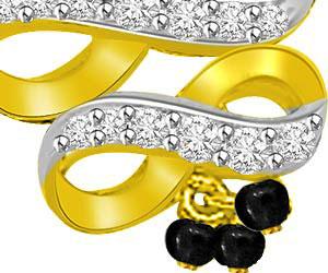 Two Tone Swirl & Bow Diamond & Gold Mangalsutra Pendants
