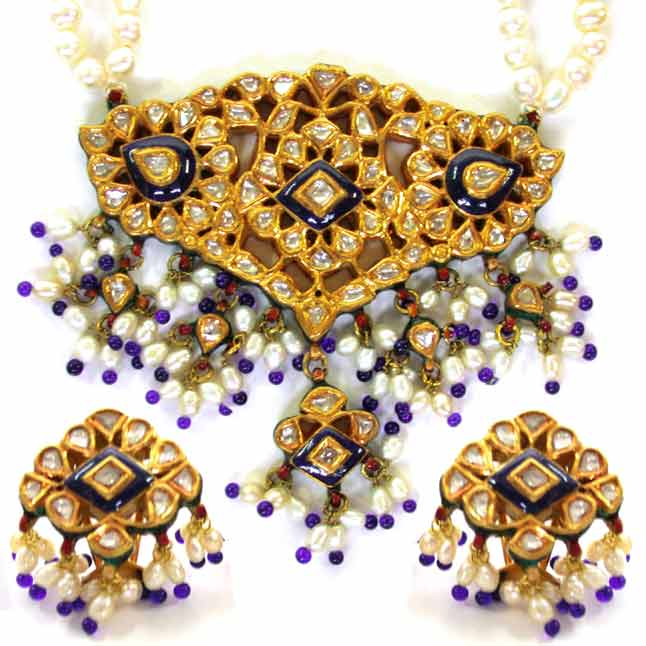 Jadthar Diamond Set with Pearls & Blue Beads -Meenakari Jadtar