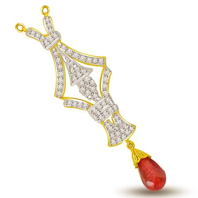 Brings You Good Luck Diamond & Ruby Gold Pendants -Diamond -Ruby