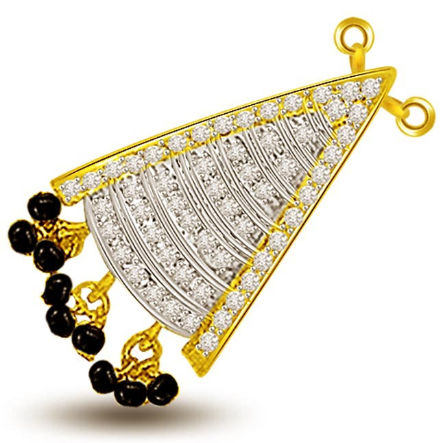 Female Divinity Diamond & Gold Mangalsutra Pendants