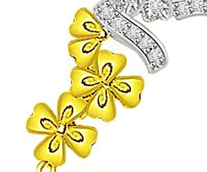 Love Of My Life Gold Flower & Diamond Pendants -Flower Shape Pendants