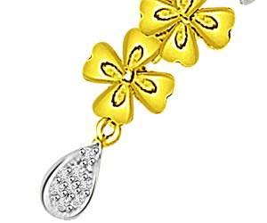 Love Of My Life Gold Flower & Diamond Pendants -Flower Shape Pendants