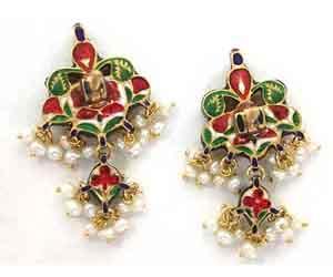 Peacock Design Meenakari Jadtar Diamond set -Meenakari Jadtar