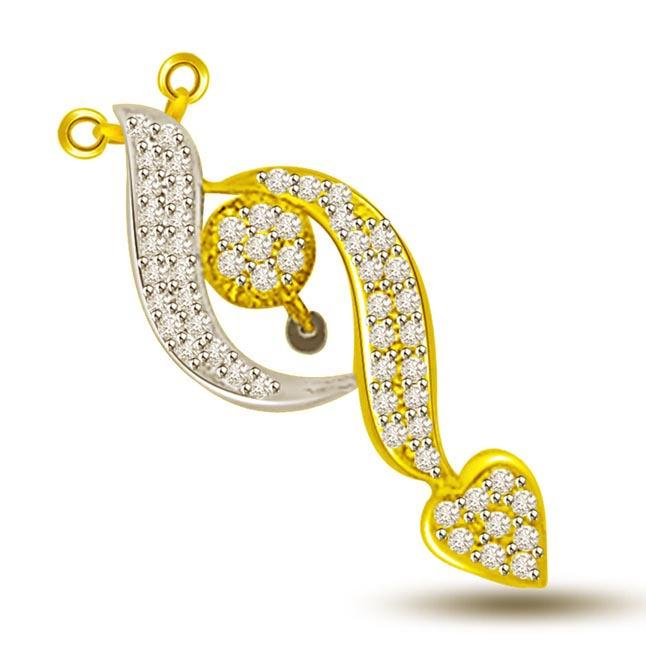 Mother & Child Two Tone Diamond & Gold Pendants