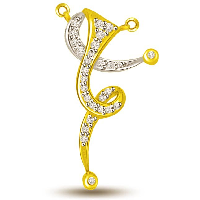 Spiral Of Life Two Tone Diamond & Gold Pendants -Designer Pendants