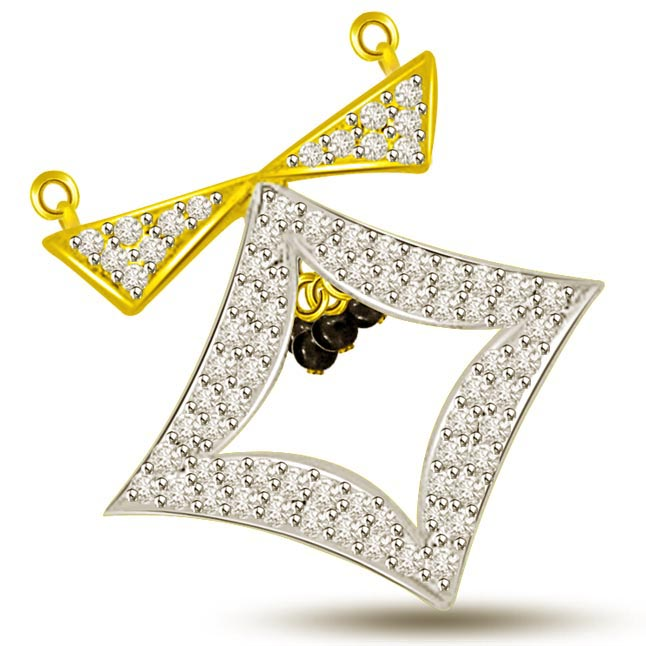 Fountain Of Energy Square Diamond Mangalsutra Pendants